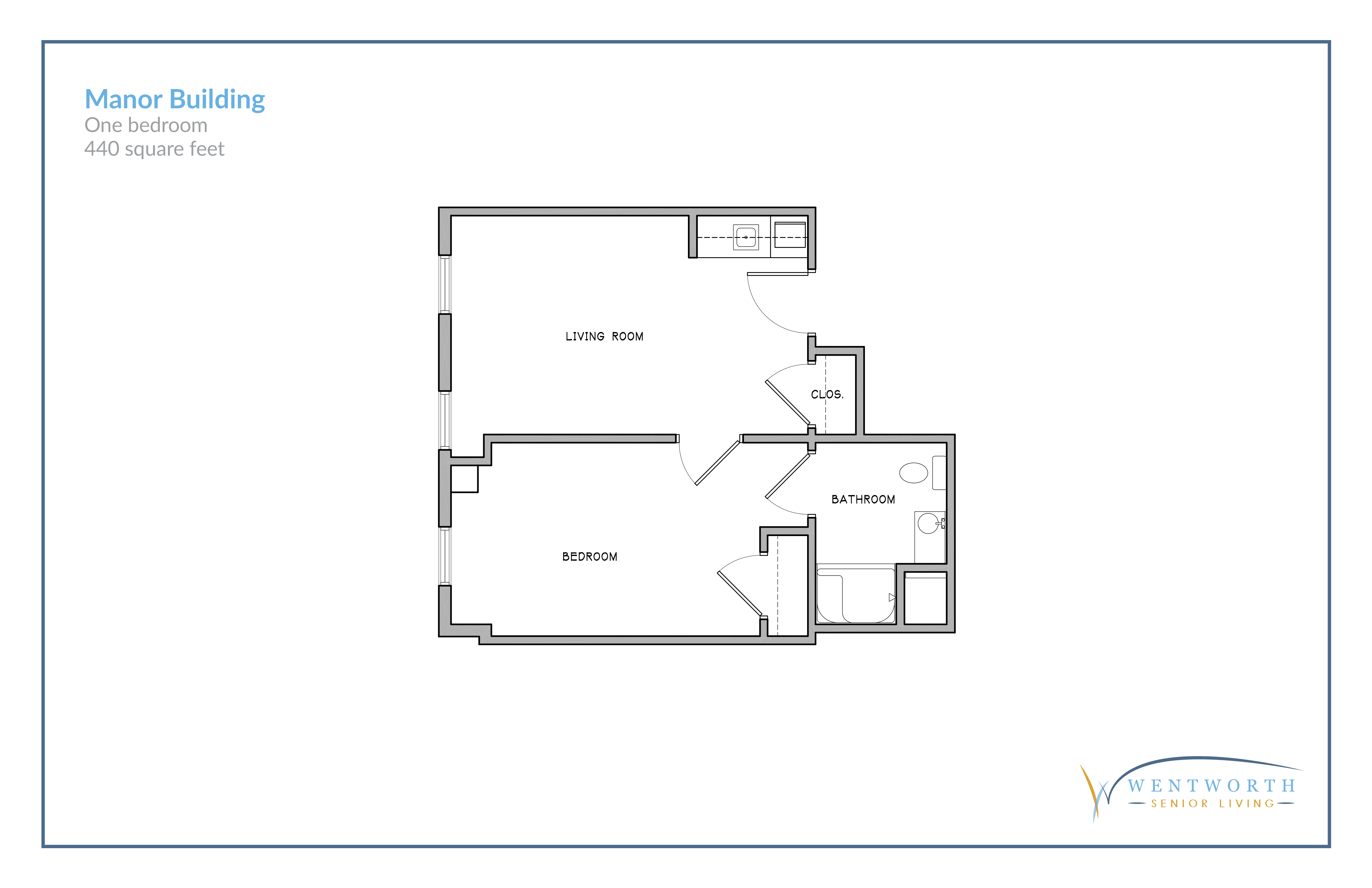 Floor plan for a one bedroom unit.