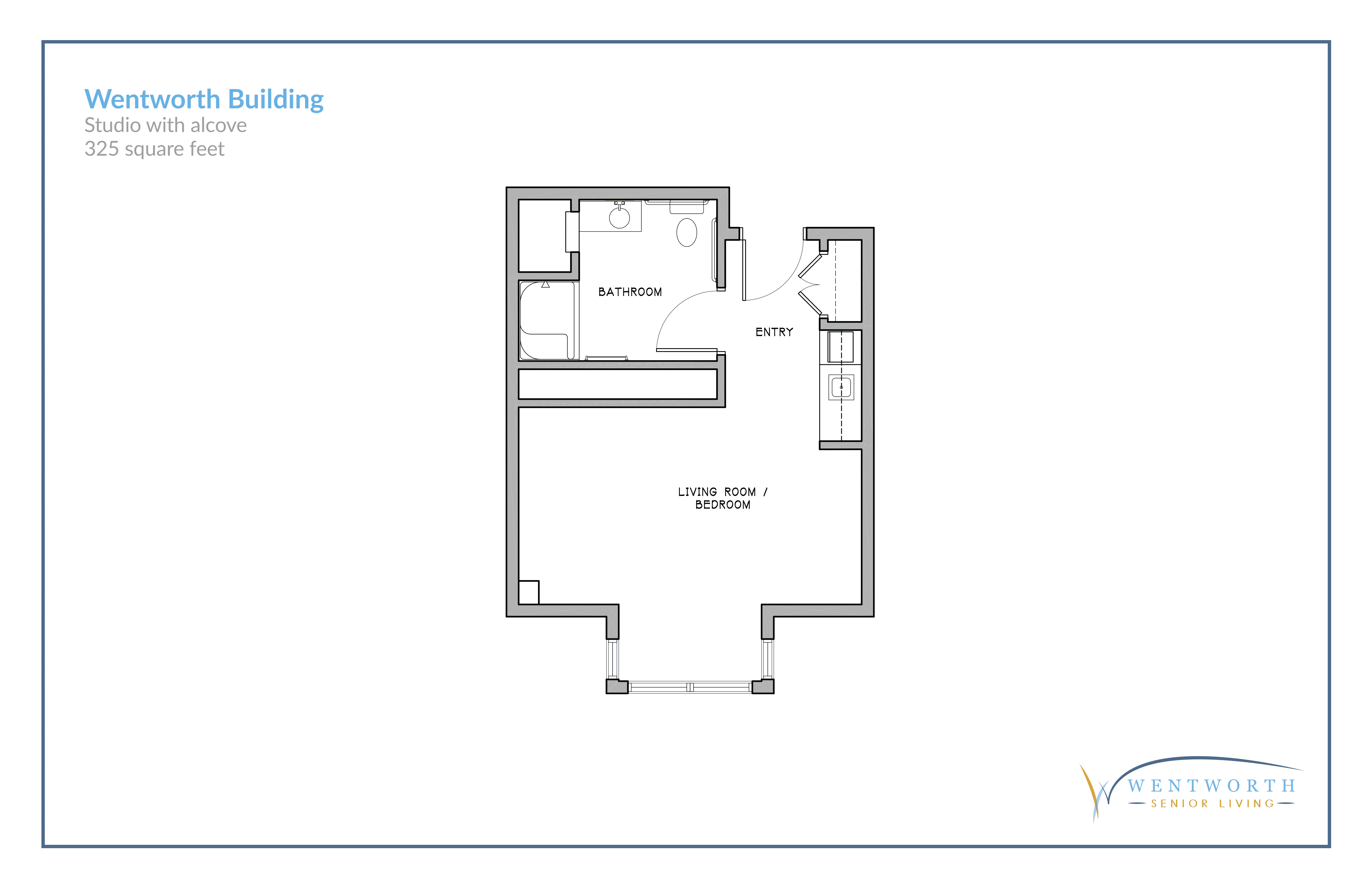 Floor plan for a studio unit with an alcove.