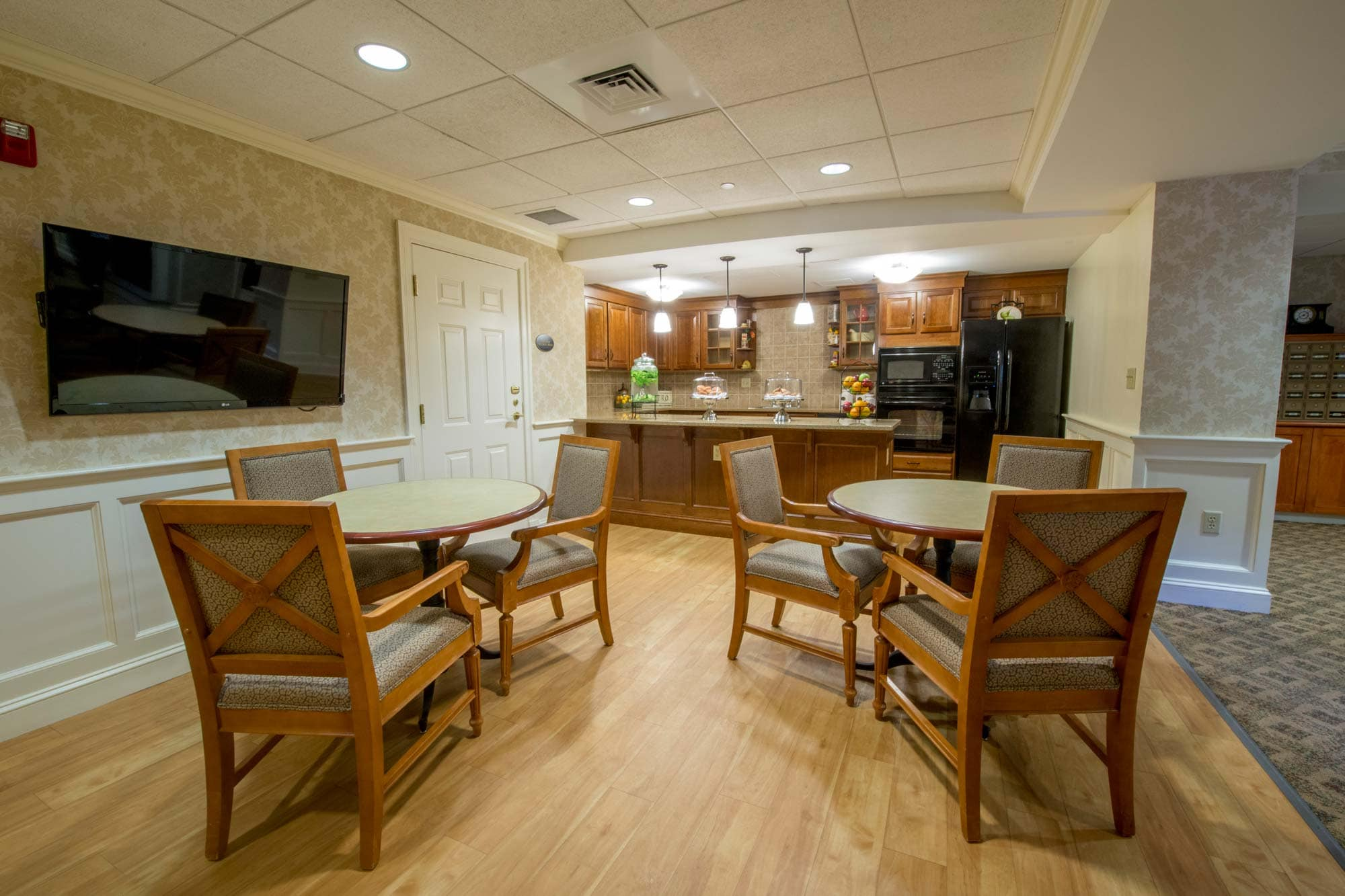 Seating in bistro cafe and kitchenette