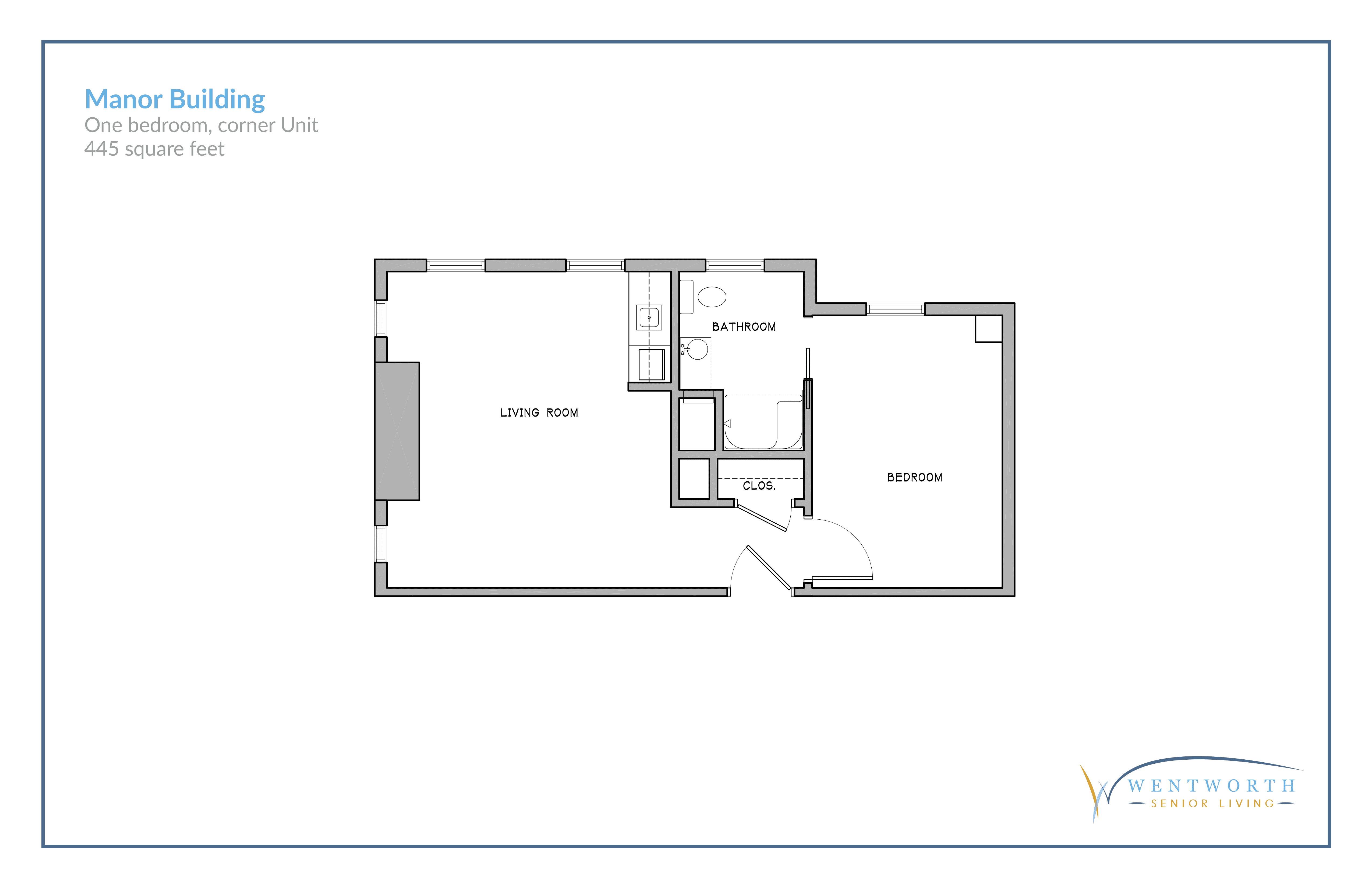 Floor plan for one bedroom corner unit.