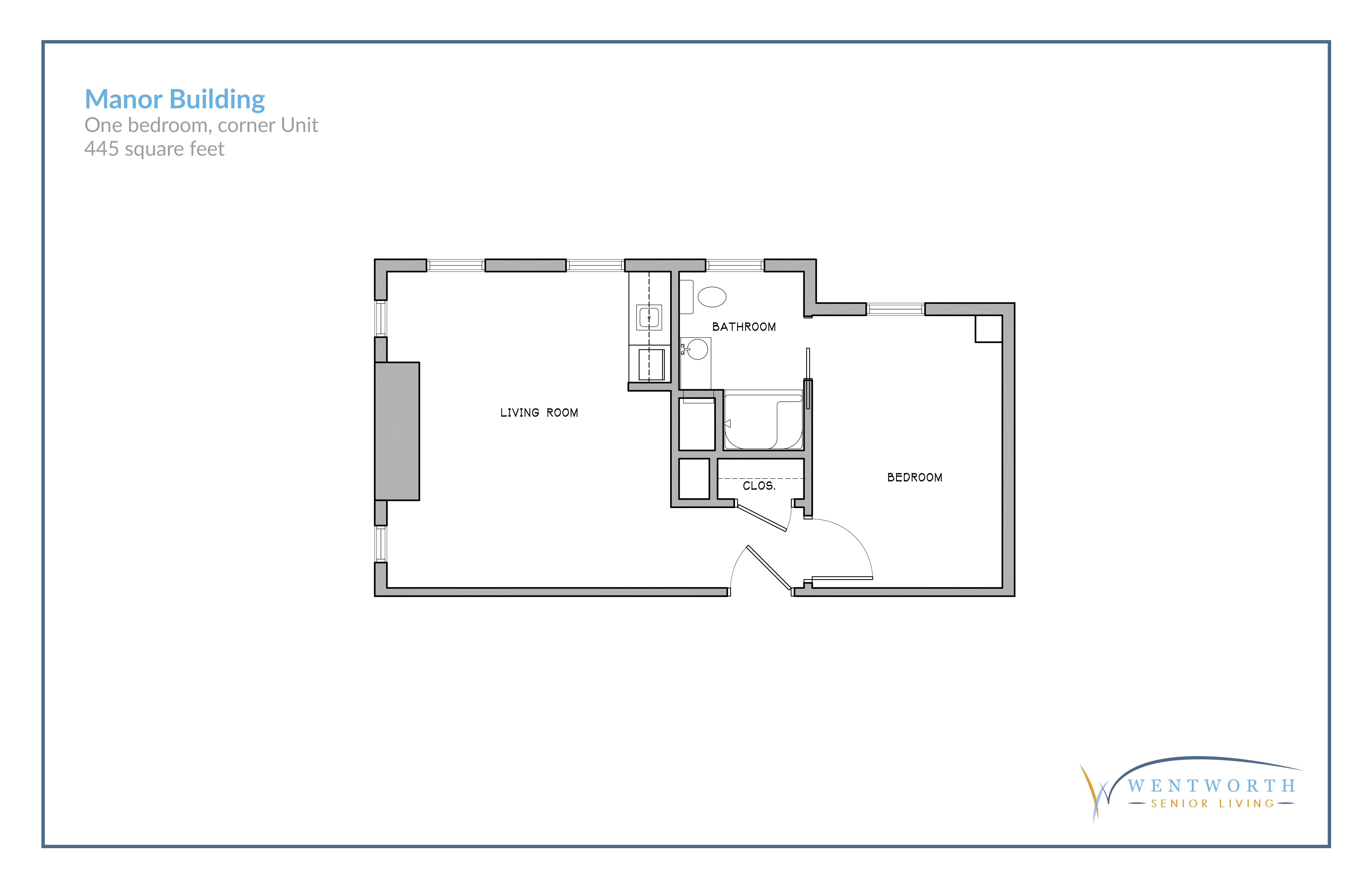 Floor plan for one bedroom corner unit.