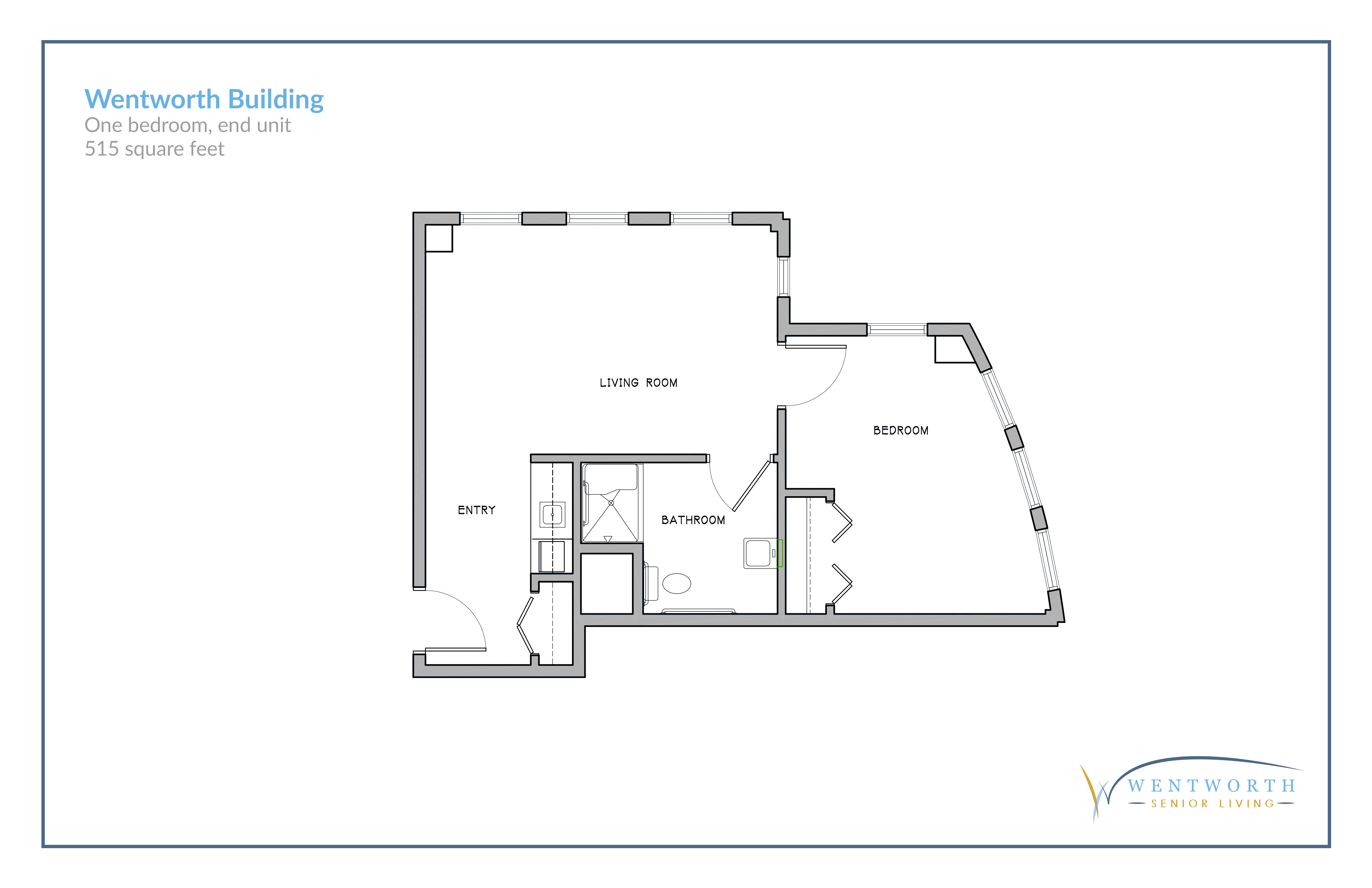 Floor plan for one bedroom end unit.