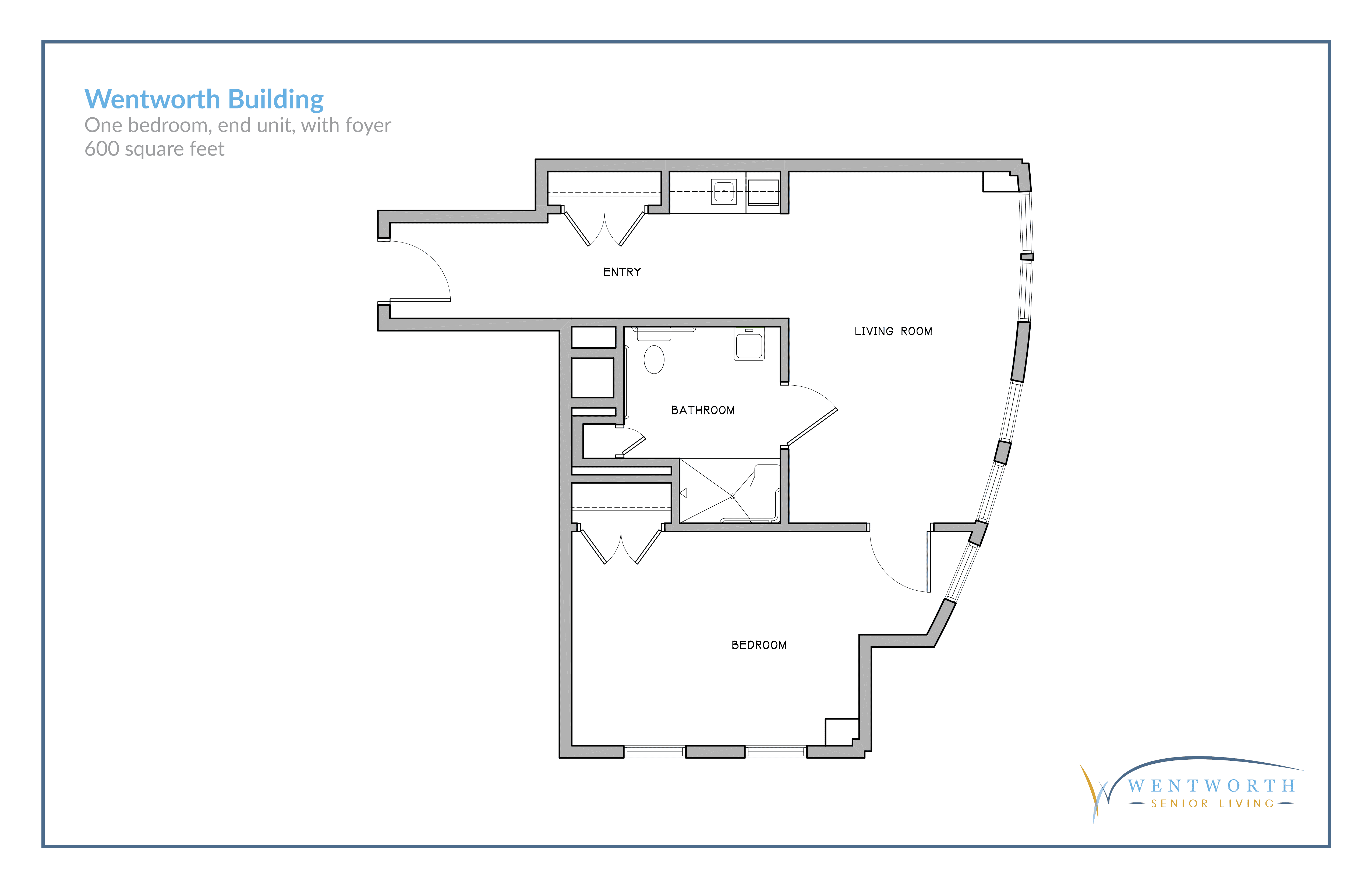 Floor plan for a one bedroom unit with a foyer.