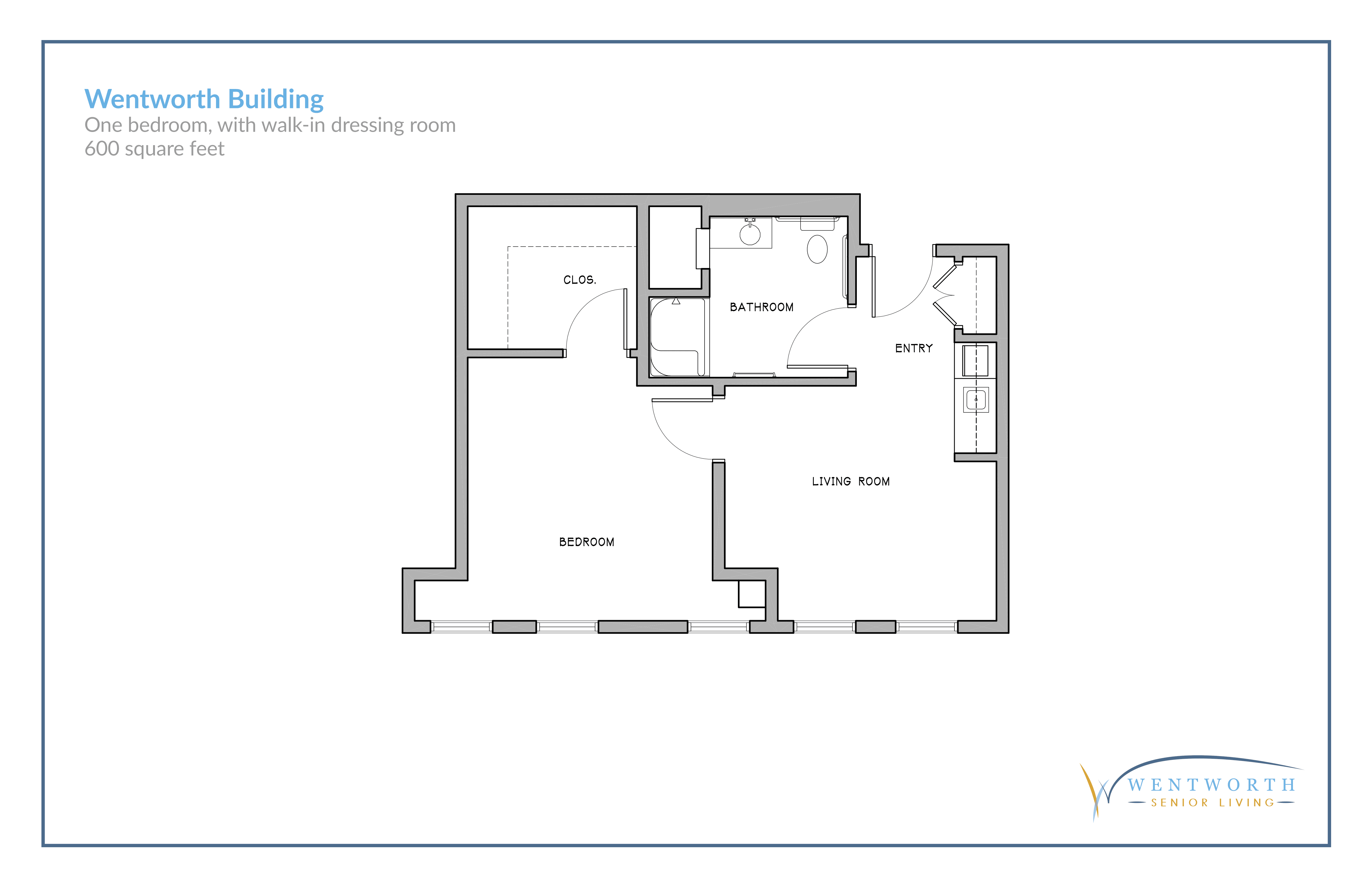 Floor plan for a one bedroom unit with a walk-in dressing room.