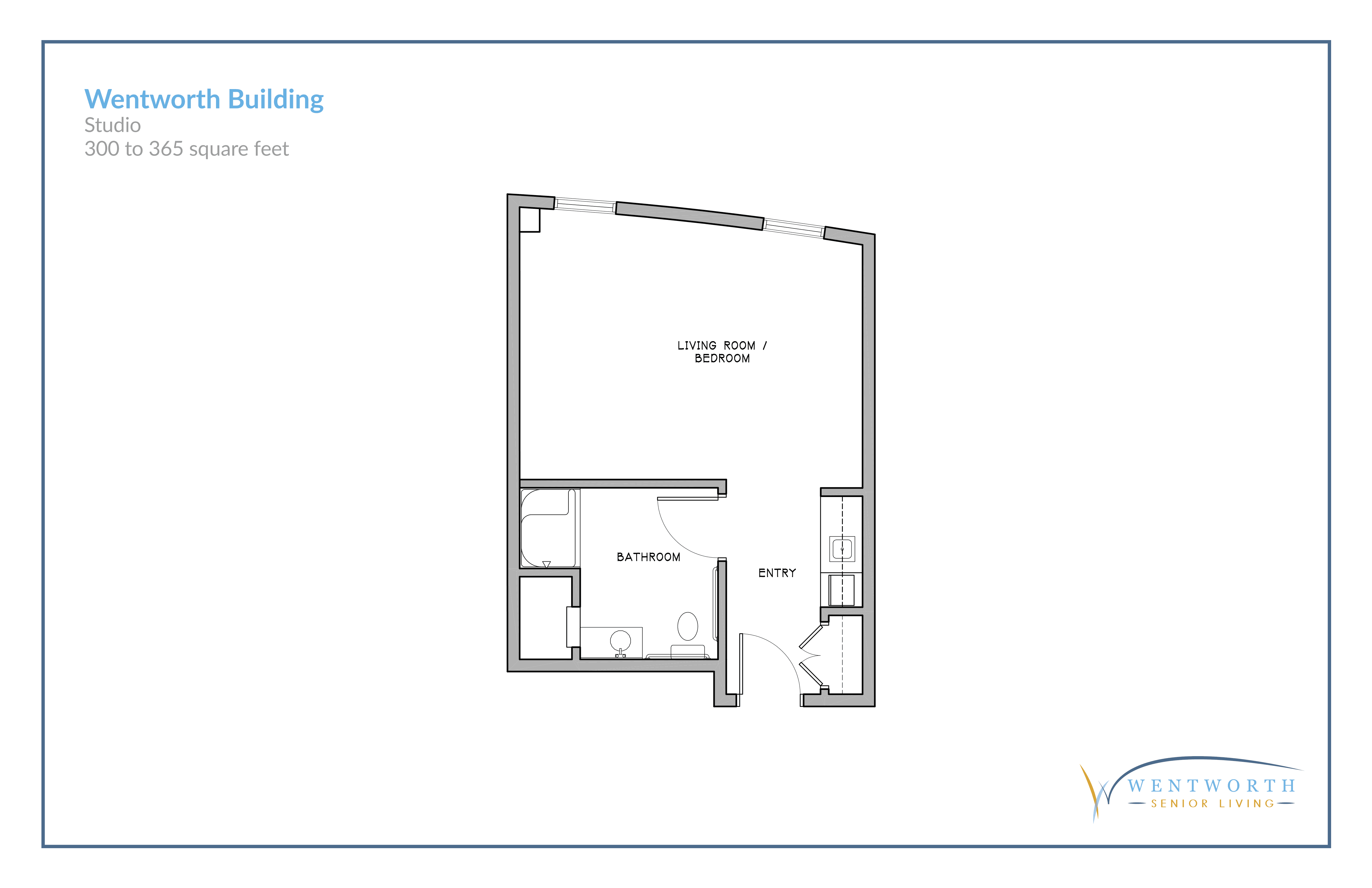 Floor plan for a studio unit.