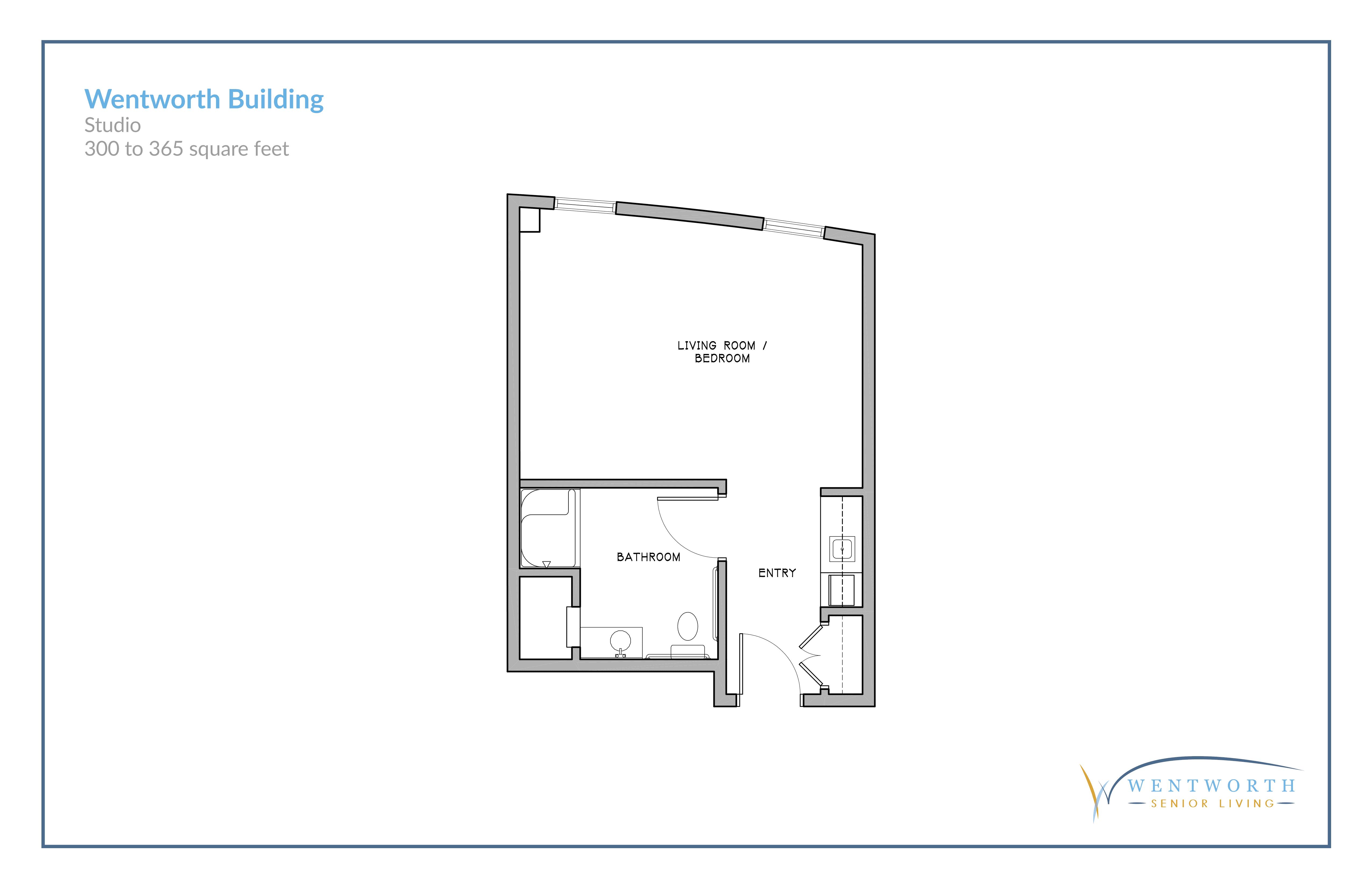 Floor plan for a studio unit.