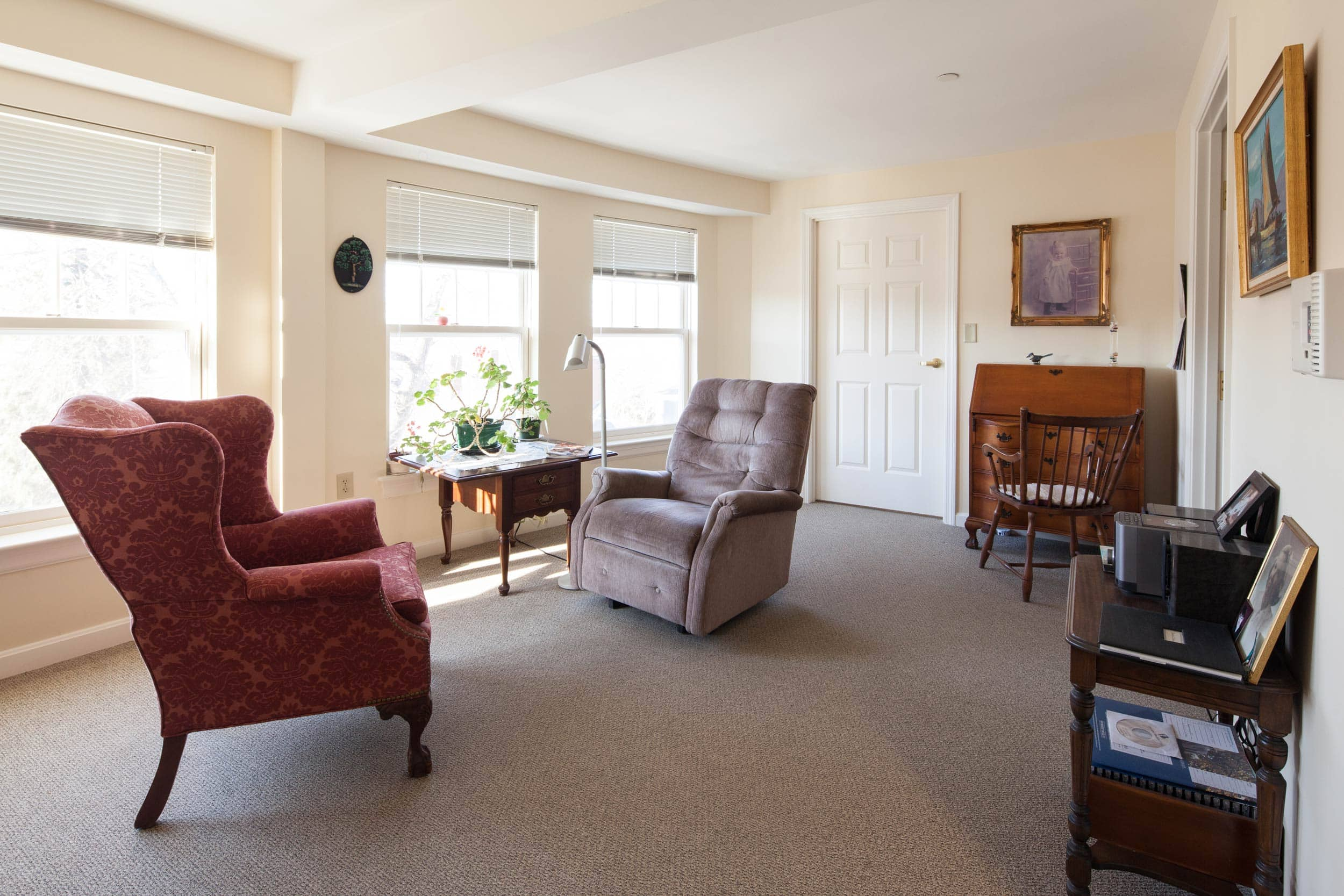Outside view of seating area in one bedroom living space