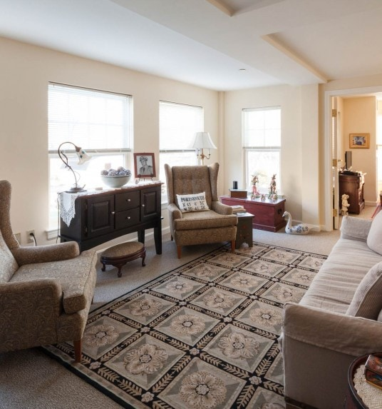 Interior view of a living room in one bedroom living space