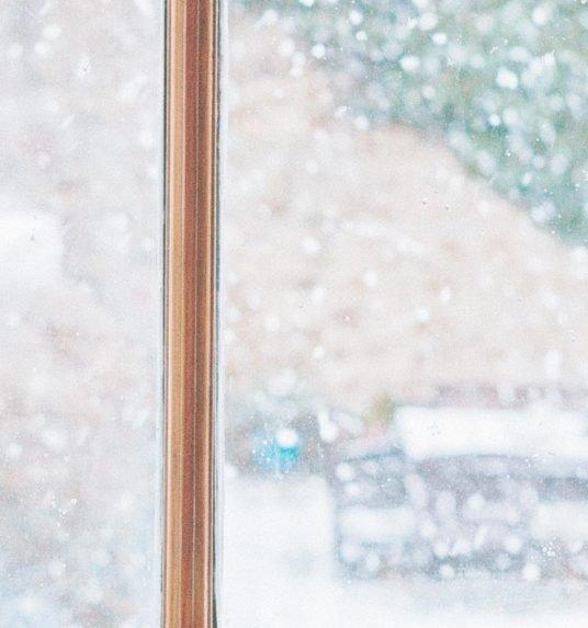 A woman enjoying winter in a senior living community